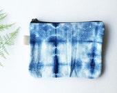 "Shibori Hand Dyed Tie-dye 100% Organic Handwoven Cotton Indigo Blue Coin Purse Accessories Small Gadget Bag Gift Bag Zipper Pouch 8""x6"""