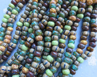 Aged Tribal Striped Picasso 31/0 Bead Mix, 1 Strand - Item 3333