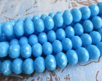 Sky Blue Faceted Rondelle Czech Beads, 24 Beads - Item 3403