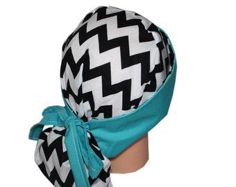 Surgical Scrub Hat Scrub Chef Vet Chemo Cap Front Fold Ponytail Scrub Hat - Black White Chevron Turquoise - 2nd Item Ships FREE