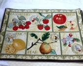 Vintage Set of 8 Woven Tapestry Placemats , Warm Neutral Colors with mixed fruit