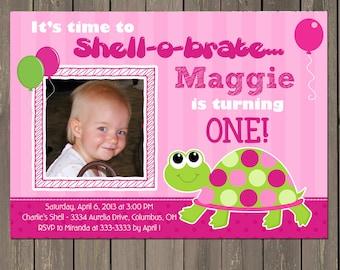Turtle Birthday Invitation, Girls Turtle 1st Birthday Invitation in Pink and Green, Preppy Turtle invite, Printable or Printed