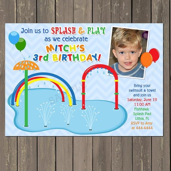 Splash pad birthday invitation pool party invitation water fun il570xn stopboris Choice Image