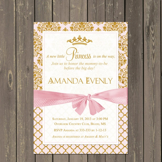 princess baby shower invitation pink and gold princess shower, Baby shower invitations