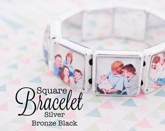 Custom Photo Bracelet 20 mm Square Stretch Bracelet Silver, Antique Bronze and Black