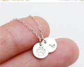 ON SALE Personalized Hand stamped initial and pet paw print  - sterling silver circle necklace - everyday simple