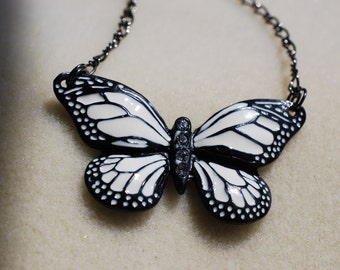Black and White Butterfly necklace