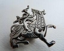 Ola Gorie Scottish sterling silver Orkney vintage designer brooch Celtic Viking legend Maeshowe Dragon 1978
