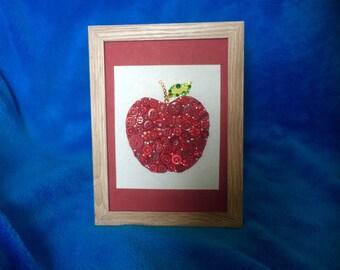 Red Button Apple, Button Art, freestanding Frame, Thankyou Gift, Teachers gift.