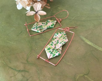 Modern Rectangle Origami Earrings In Green Stained Glass Print