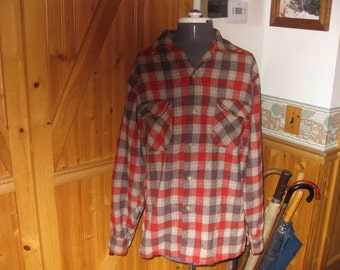 Vtg 60s wool Pendleton Red Brown  Gray plaid  Wool Loop Collar Board Shirt LG Free ship