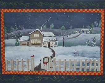 Folk art acrylic painting of a Christmas Scene.