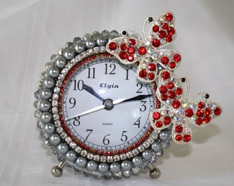 """Platinum Crystal, Pearls and Red Rhinestone Butterfly Alarm Clock """"REDDY TO FLY"""""""