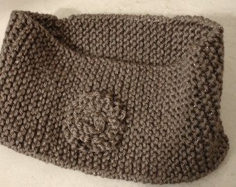 Knitted Head Band - Wide Head Warmer - Winter Head Band Ear Warmer Cover - Ear Muffs - Sparkly Brown Soft Yarn With Rosette