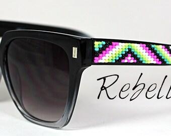 Beaded Sunglasses Neon Tribal Love