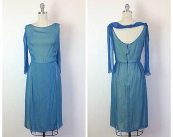 60s Blue & Yellow Chiffon Dress / Silk 1960s Party Wiggle Dress / Medium / Size 6