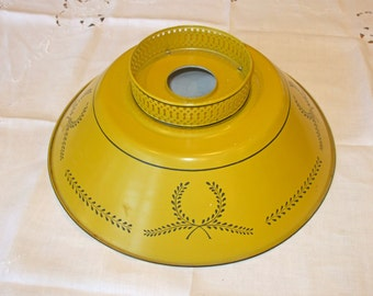 Vt. Tin Tole Mustard Lamp Shade - Wheat Design - Large