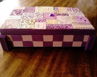 Polymer clay mosaic tile wooden keepsake/jewellery box
