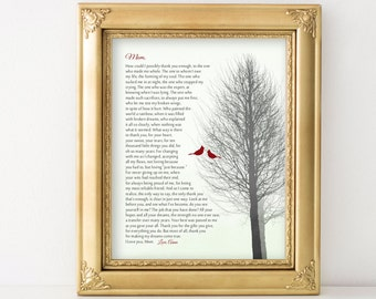GIFT for Mom Birthday Gift from Daughter or from Son Personalized Poem for Mothers Gift for Mom Gift Ideas from Kids Christmas