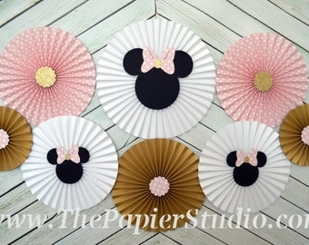 Pink and Gold, Minnie Mouse Inspired, Set of 8 (eight) Paper Rosettes