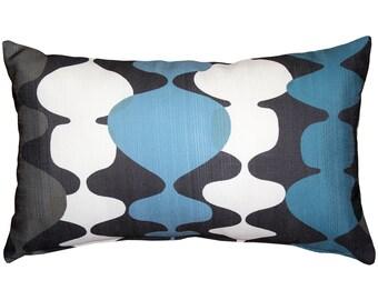Lava Lamp Charcoal Blue 12x20 Throw Pillow