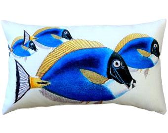 Blue Surgeonfish Fish Pillow 12x20