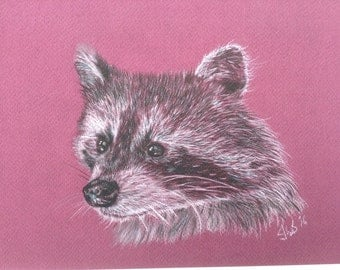 Signed Limited edition mounted giclee art print of pencil crayon drawing of a raccoon