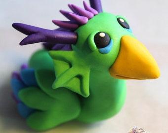 Polymer Clay Green Dragon Bird Sculpture