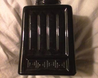 Vintage Black Amethyst Bottle. Marked on bottom. Made in Hong Kong. Vertical pattern.