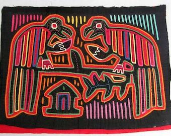 Vintage Panel Mola Colorful Parrots Bird Symbols 3 Layers Panama Kuna Indians
