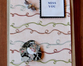 Handmade Cards, Handmade For You Cards, Cat Card, Miss you card