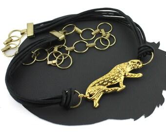 Gold Jaguar Black Cord & Chain Vintage Belt - up to 40 inches