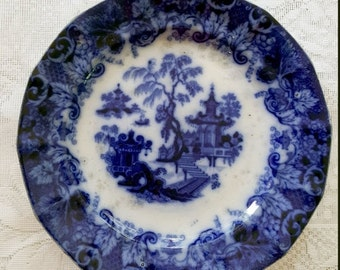 ON SALE Antique Flow Blue Scinde 1845 Transferware plate pagoda white and blue cobalt marked T  Walker Scinde Ironstone 9.25 inch