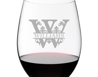 Engraved Wine Glass, Regal Split Letter, Monogrammed Wine Glasses, Personalized Glasses, Gifts for Wedding, Stemless Wine Glasses
