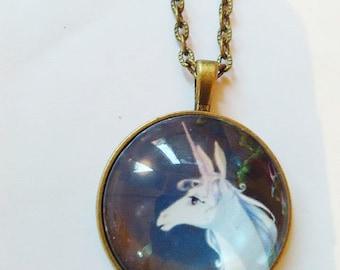 unicorn last unicorn picture pendant
