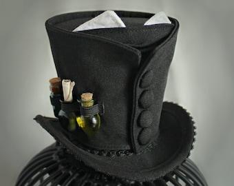 Wizard Mini Top Hat, Potions Professor Mini Hat Costume, Black Mini Hat, Magical Fascinator Hat, Tea Party Hat, Fan Wear Hat, Women Top Hat