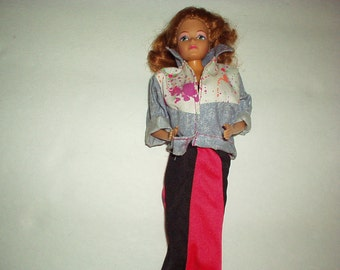"1985 Mattel DANCING DIVA The Rockers Barbie 11"" Twist N Turn Bendable DOLL w/Curly Hair in Vintage Handmade Gown & Jeans Jacket (Taiwan)Rare"