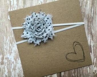 White w/ Black Polka Dots MINI Shabby Flower Headband