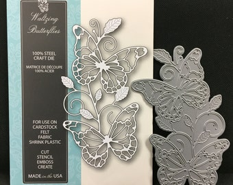 Memory Box metal dies WALTZING BUTTERFLIES 99082 for handmade cards and scrapbooks use in Cuttlebug,Sizzix, and other machines