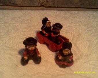 Five Vintage Wilton Cast Iron Amish Miniatures, Amish Figurines, Cast Wagon, Amish Children, Wilton Cast Iron, Cast Iron Amish, Mini Wagon