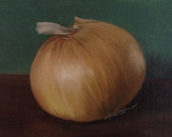 """Still life  painting: Onion 6x4"""", oil painting"""