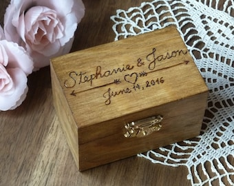 Wedding Ring Box Rustic Ring Holder Ring Bearer Box Personalized Rustic Ring Holder Arrows and Heart Ring Pillow Bearer Box Custom Color