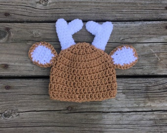Baby Deer Hat Crochet Deer Hat Newborn Deer Hat Deer Photo Prop Hat Baby Crochet Hat