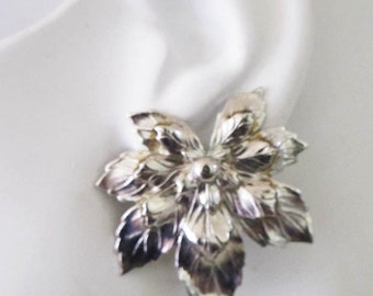 Sarah Coventry Silvery Maple Leaf 1960's vintage