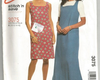 UNCUT 3075 McCalls Sewing Pattern Dress or Jumper Choice Length Size 10 12 14 16 Factory Folded