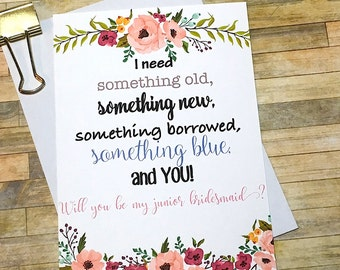 Will You Be My Junior Bridesmaid Card- Something Old Something New Bridal Party - Maid of Honor Jr Bridesmaid Thank You Card - Wedding