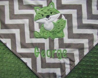 Personalized Baby Blanket, Fox Baby Blanket, Custom Blanket, Minky Baby Blanket, Made to Order, Baby Gift