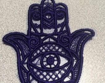 Hamsa lace patch applique various colors.