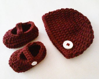 Baby Beanie with Button & Mary Jane Booties Set - 0 to 3 Months, 3 to 6 Months, 6 to 12 Months - Any Color - Baby Girl, Baby Boy