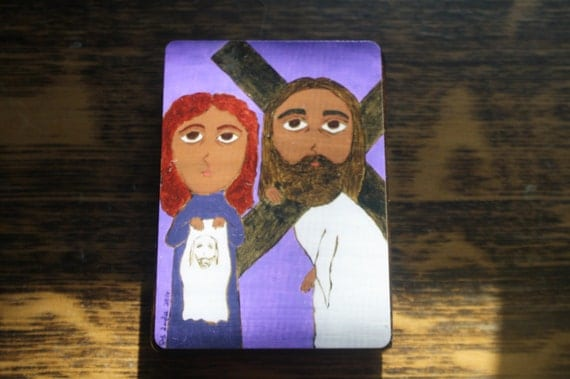"""2.5"""" X 3.5"""" Veronica wipes the Face of Jesus Byzantine Folk style icon on wood by DL Sayles"""